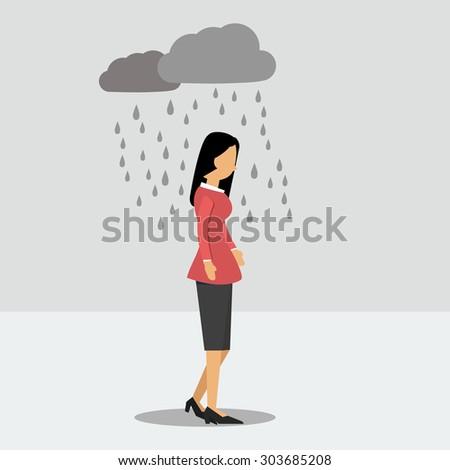 Vector illustration. Walking woman in depression in the rain - stock vector