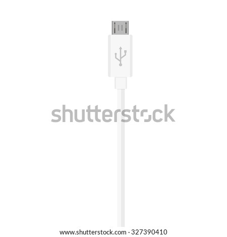 Vector illustration white micro usb cord, cable, connector symbol - stock vector