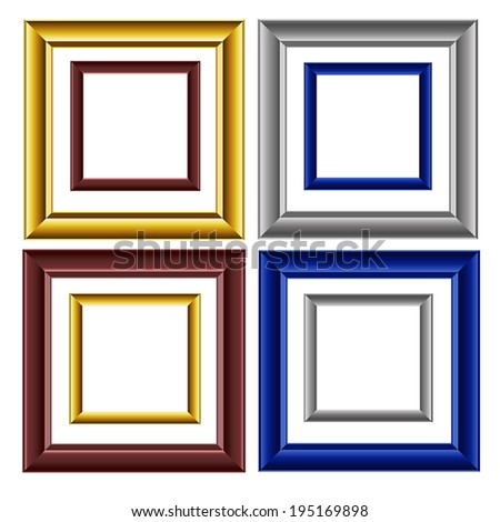 8 vector image colored picture frames on white background