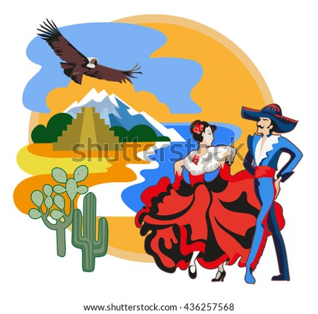 Vector image of ancient and modern elements Mexican culture