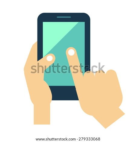 vector image of  hand holding phone - stock vector