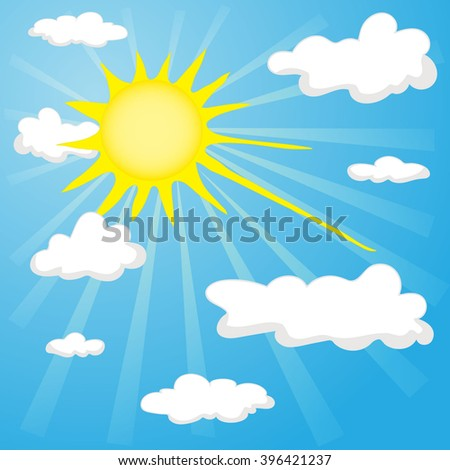 vector isolated  sun and clouds on the blue sky