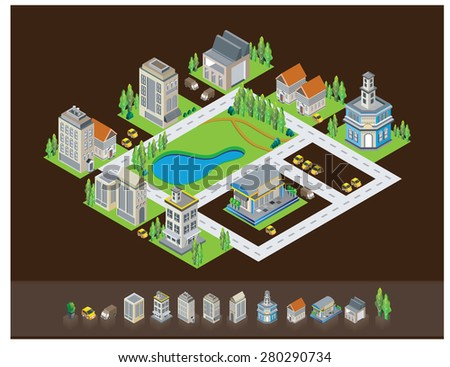 Vector isometric  building icon architecture - stock vector