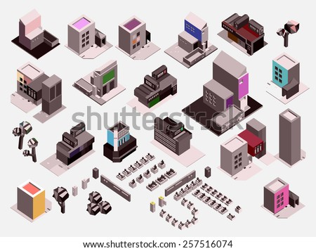 vector isometric city and buildings set, info graphic element - stock vector