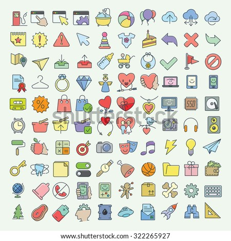Vector linear and flat colored icons set on various topics
