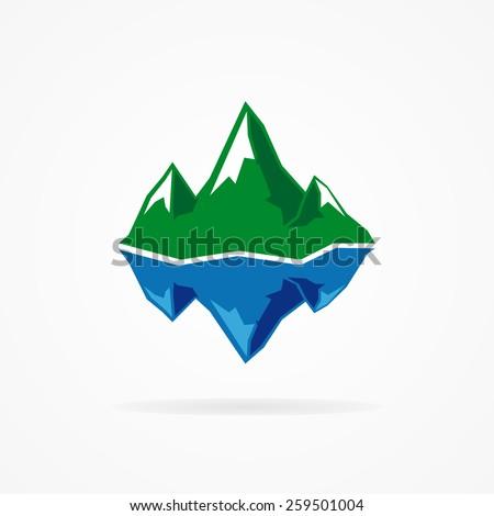 Vector logo of the mountain and iceberg  - stock vector