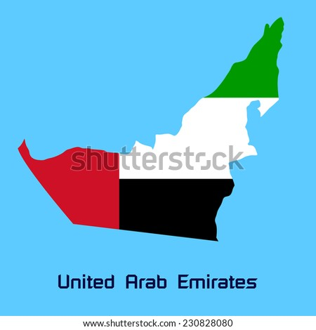 vector map of United Arab Emirates with flag texture - stock vector