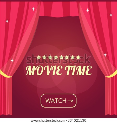 Vector movie time background with cinema Red Curtains and projector lights. Movie background with text place. Can used for banner, poster, web page, background  - stock vector