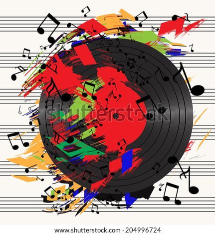 vector musical explosion (vinyl) - stock vector