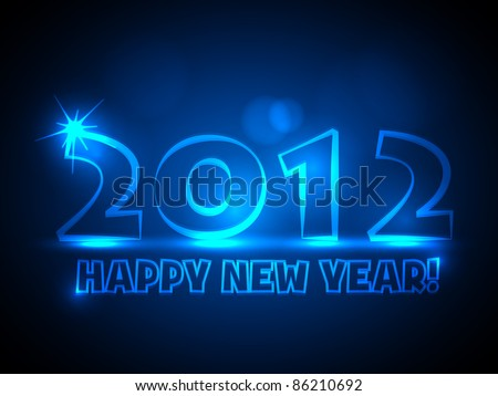 2012 - Vector New Year Card - Blue Neon Lights - stock vector