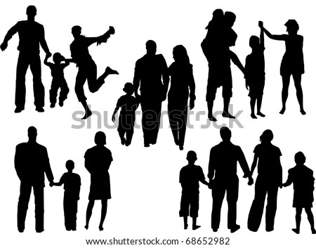 """vector of silhouettes of families in different situations - stock vector"