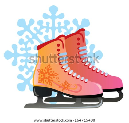 vector pair of red female skates decor with snowflakes - stock vector