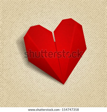 Vector paper heart. Origami for Valentines day.  EPS 10 - stock vector