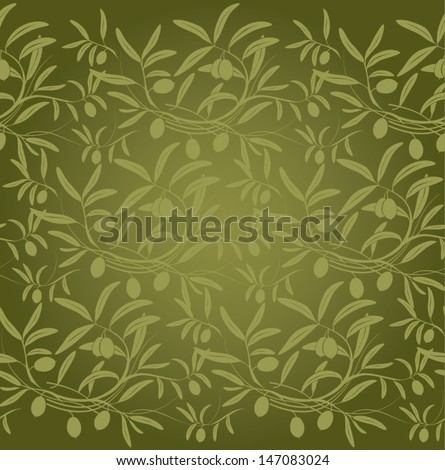 Vector pattern olive branch on vintage paper.For labels, packaging. - stock vector
