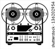 vector reel tape recorder on white background - stock vector