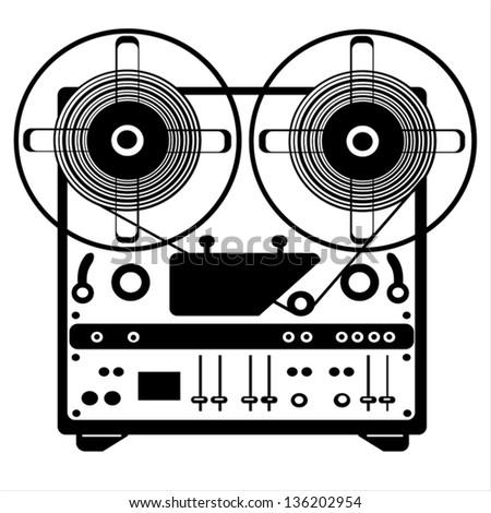 vector reel tape recorder on white background - stock vector