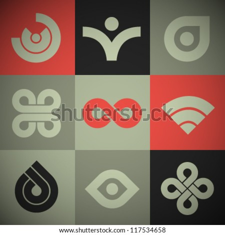 Vector Retro Abstract Icons - stock vector
