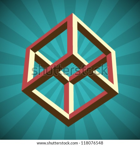 Vector Retro Cube Illusion - stock vector