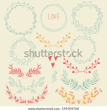 Vector romantic set of circle floral borders,floral design elements and hearts. Sketch frames, hand-drawn in vintage style. Vector illustration. - stock vector