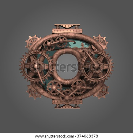 0 vector rusted letter with gears