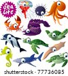 12 vector sea animals - stock vector