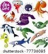 12 vector sea animals - stock vector