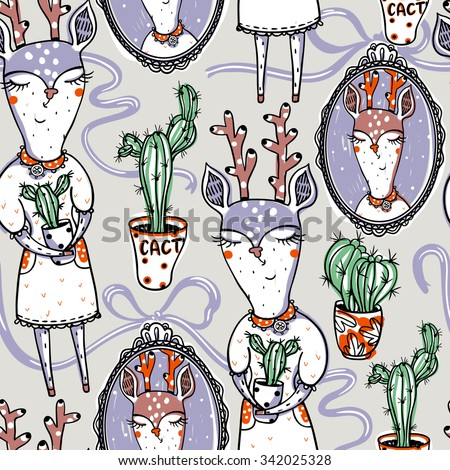 vector seamless pattern with cactus and deers - stock vector