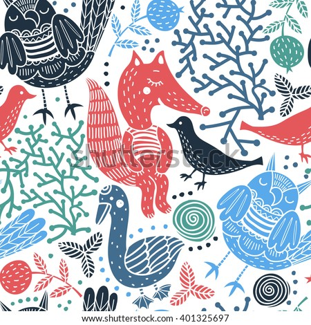 vector seamless pattern with colorful silhouette animals