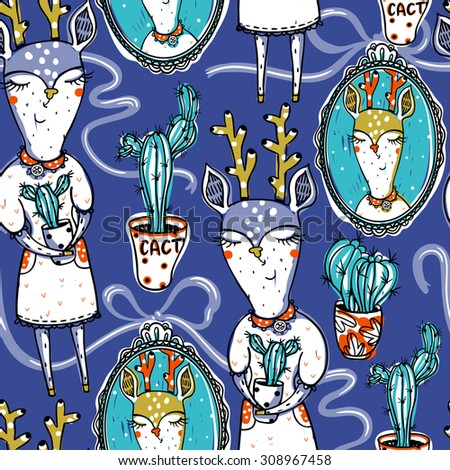 vector  seamless pattern with funny deers and vintage portraits - stock vector