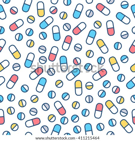 Vector seamless pattern with Pills tablets in line style.