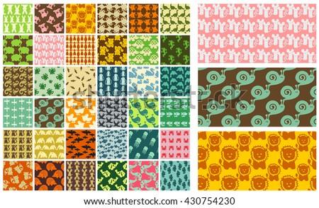 36 vector seamless patterns - hand drawn animals - stock vector