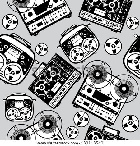 vector seamless reel tape recorder pattern - stock vector