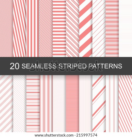 20 vector seamless striped patterns - stock vector