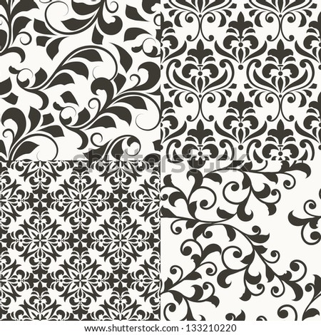 4 vector seamless  vintage floral patterns, fully editable eps 8 file with clipping masks, seamless patterns in swatch menu - stock vector