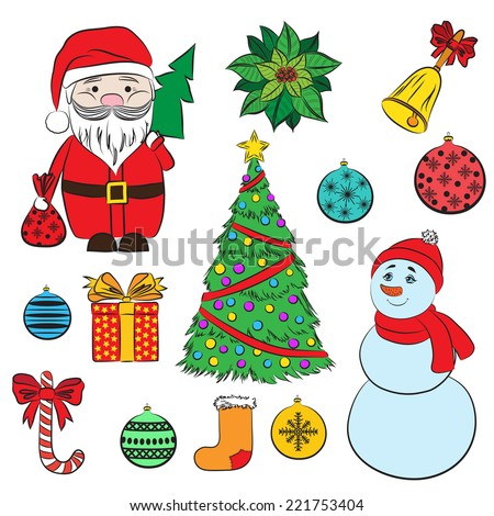 2015 Vector set Christmas and New Year's decorative elements. Suitable for various designs, invitation, thank you card, wrapping paper pattern and scrapbooking. Vector 10 EPS - stock vector