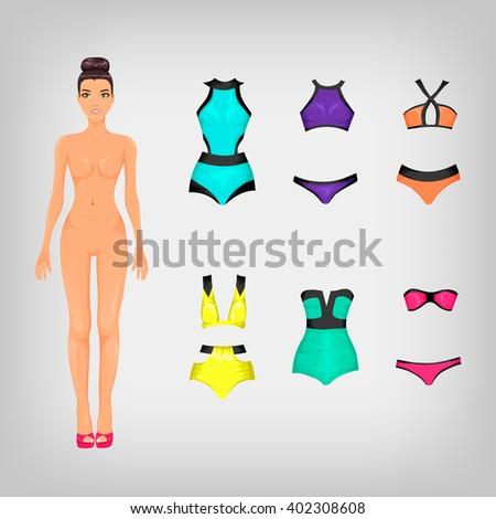 Vector set of modern swimsuits - stock vector