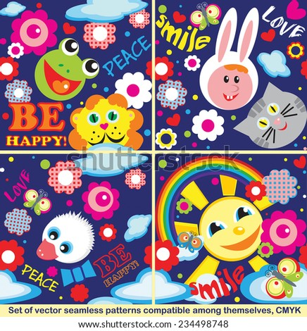 Vector set of seamless compatible  patterns with funny animals, flowers, inscriptions Be happy, Peace, Love, Smile on a dark blue background - stock vector