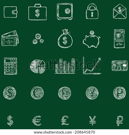 Vector Set of Sketch Finance Icons. Chalk on a Blackboard. - stock vector