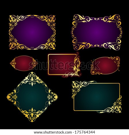 Vector set of template frames and borders for greeting card, invitation with pattern, place for text. - stock vector