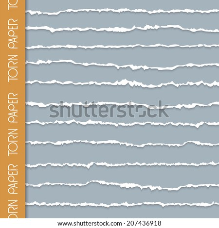 Vector set of torn paper banners with space for text - stock vector