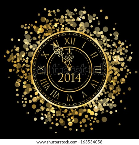 2014 - Vector shiny New Year Clock - stock vector