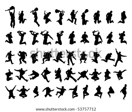 50 vector silhouettes - stock vector