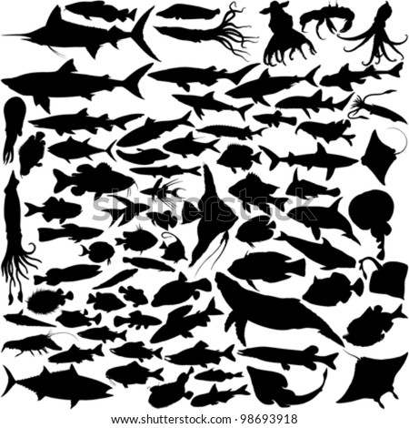 74 Vector Silhouettes of fish and sea animals isolated on white - stock vector