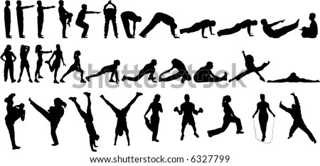 32 Vector Silhouettes of people Exercising - stock vector