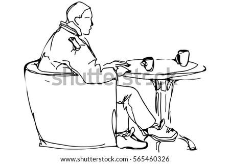 vector sketch man round table cafe stock vector 565460326 shutterstock. Black Bedroom Furniture Sets. Home Design Ideas