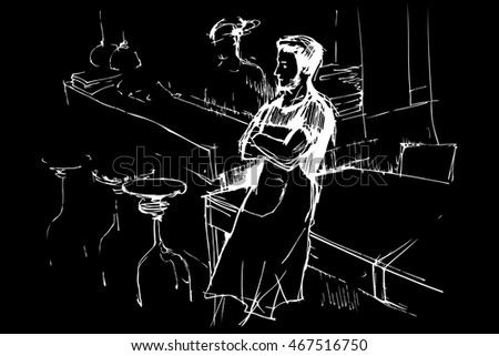 vector sketch of a waiter in an apron in a pub