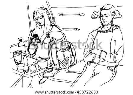 vector sketch of man and woman at a table in the coupe wagon