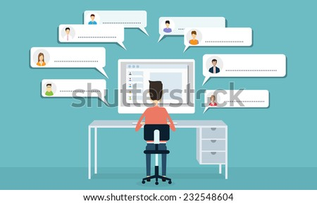 Vector social  communication and business connection - stock vector