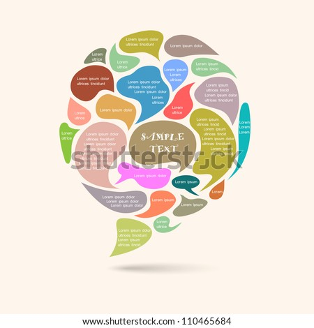 Vector speech bubbles in retro colors - stock vector