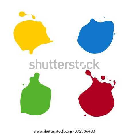 vector splats splashes and blobs of brightly colored paint in different shapes drips isolated on white